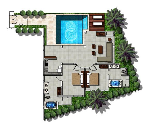 The ahimsa beach all bali villas for Beach villa design